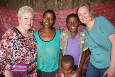 Mrs.Ingrid Olson,President of Partners With Ethiopia, and her friend Mrs.Martha Rothenberger visiting Mitiku's family in Hawassa.